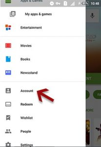 setting account google play
